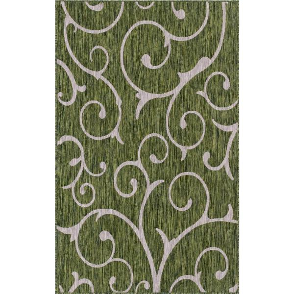 Outdoor Curl Green 7 ft. x 10 ft. Area Rug