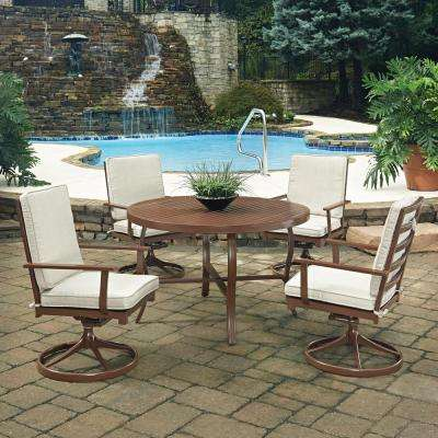 Key West Chocolate Brown 5-Piece Extruded Aluminum Outdoor Dining Set with Beige Cushions