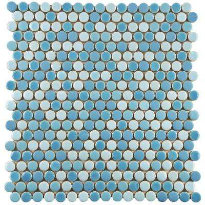 Comet Penny Round Oceano 11-1/4 in. x 11-3/4 in. x 9 mm Porcelain Mosaic Tile