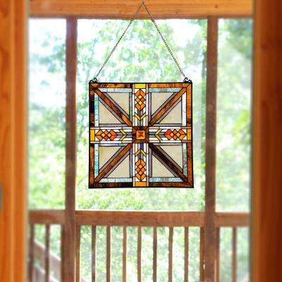 Multi Stained Glass Southwestern Mission Style Window Panel