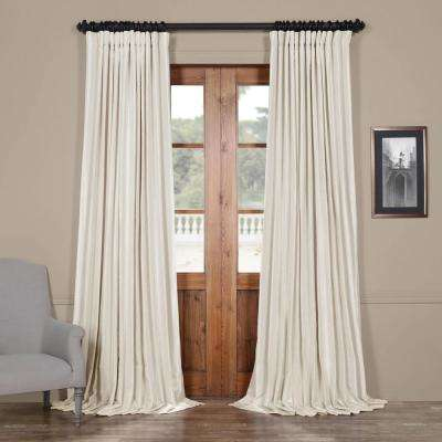 Off White Blackout Extra Wide Vintage Textured Faux Dupioni Curtain - 100 in. W x 84 in. L
