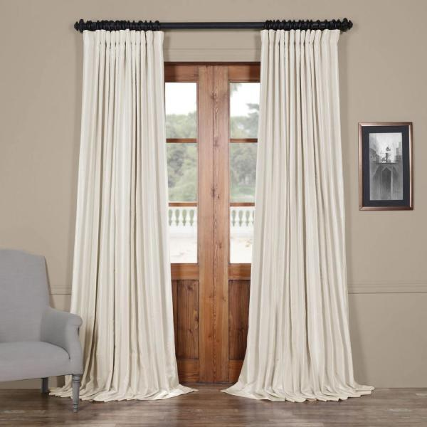 Off White Blackout Extra Wide Vintage Textured Faux Dupioni Curtain - 100 in. W x 96 in. L
