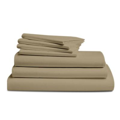 7-Piece Sand Solid 300 Thread Count Cotton King Sheet Set