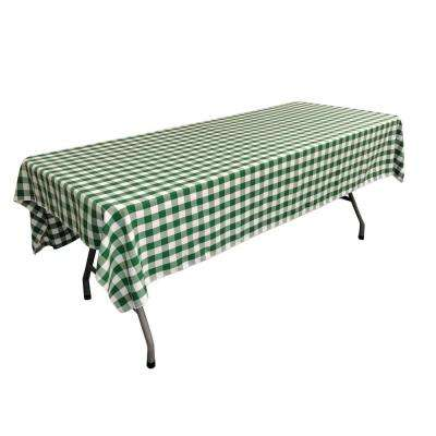 60 in. x 90 in. White and Hunter Green Polyester Gingham Checkered Rectangular Tablecloth