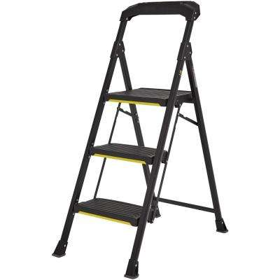 3-Step PRO-Grade Steel Step Stool with 300 lbs. Load Capacity Type IA Duty Rating