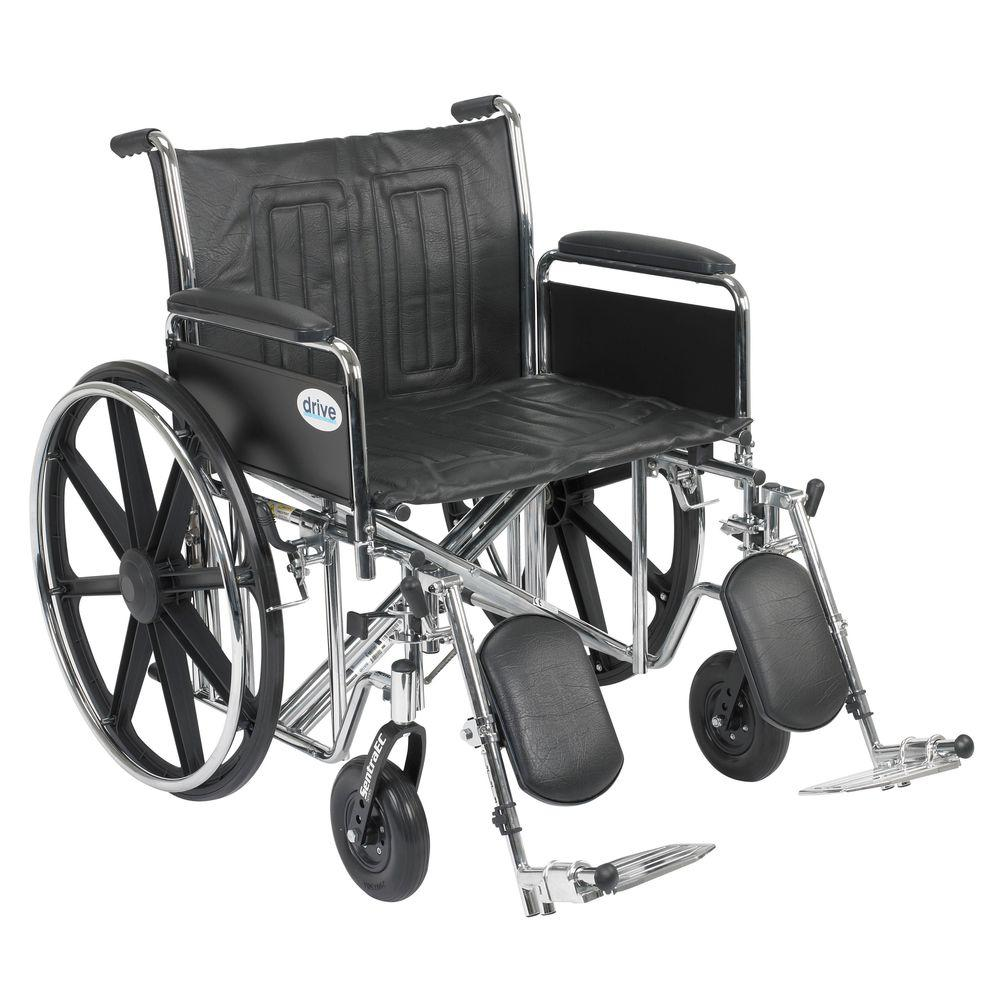 Sentra EC Heavy Duty Wheelchair with Full Arms, Elevating Leg Rests