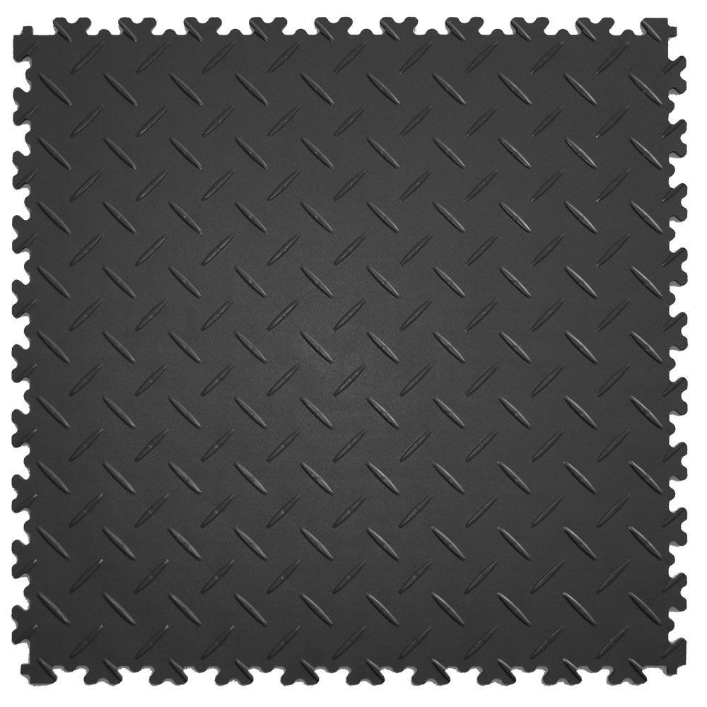 IT-tile Diamond Plate 20-1/2 in. x 20-1/2 in. Dark Gray Vinyl Interlocking Multipurpose Flooring Tiles (23.25 sq. ft./case)