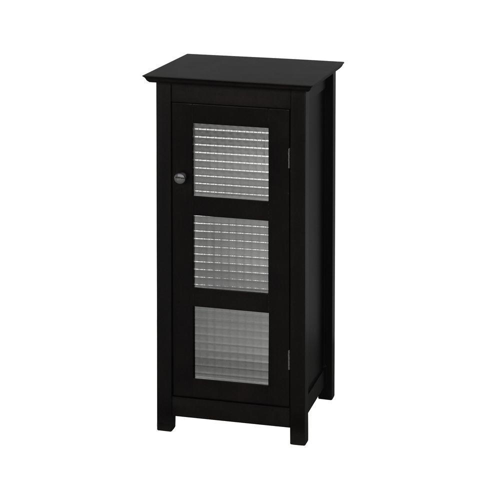 Cape Cod 13-1/2 in. W x 30-1/2 in. H x 13 in. D Bathroom Linen Storage Floor Cabinet with Glass Door in Espresso