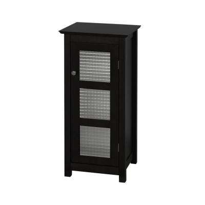 Cape Cod 13-1/2 in. W x 30-1/2 in. H x 13 in. D Bathroom Linen Storage Floor Cabinet with Glass Door in Espresso