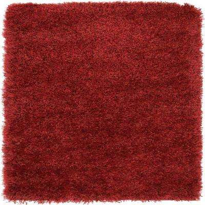 Luxe Solo Red 8' x 8' Square Rug