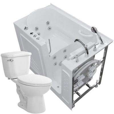 52.8 in. Walk-In Whirlpool Bathtub in White with 1.28 GPF Single Flush Toilet