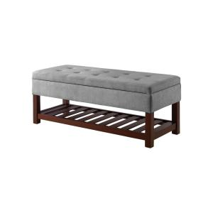 Surprising Rio Light Grey Functional Bench With Storage And Shelf Tufted Microfiber Top Dailytribune Chair Design For Home Dailytribuneorg