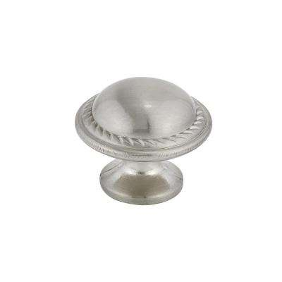 Traditional 1-3/16 in. (30 mm) Brushed nickel Round Cabinet Knob