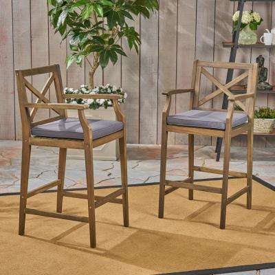 Perla Grey Wood Outdoor Bar Stool with Grey Cushion (2-Pack)