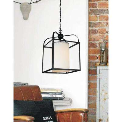 Danielle 1-Light Oil Rubbed Brown Chandelier with White shade