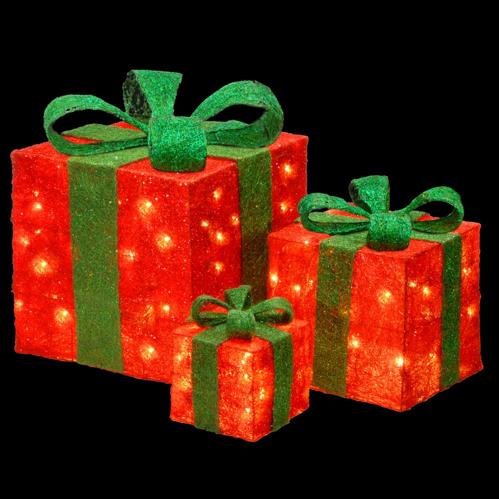 national tree company pre lit red sisal gift box assortment mzgb