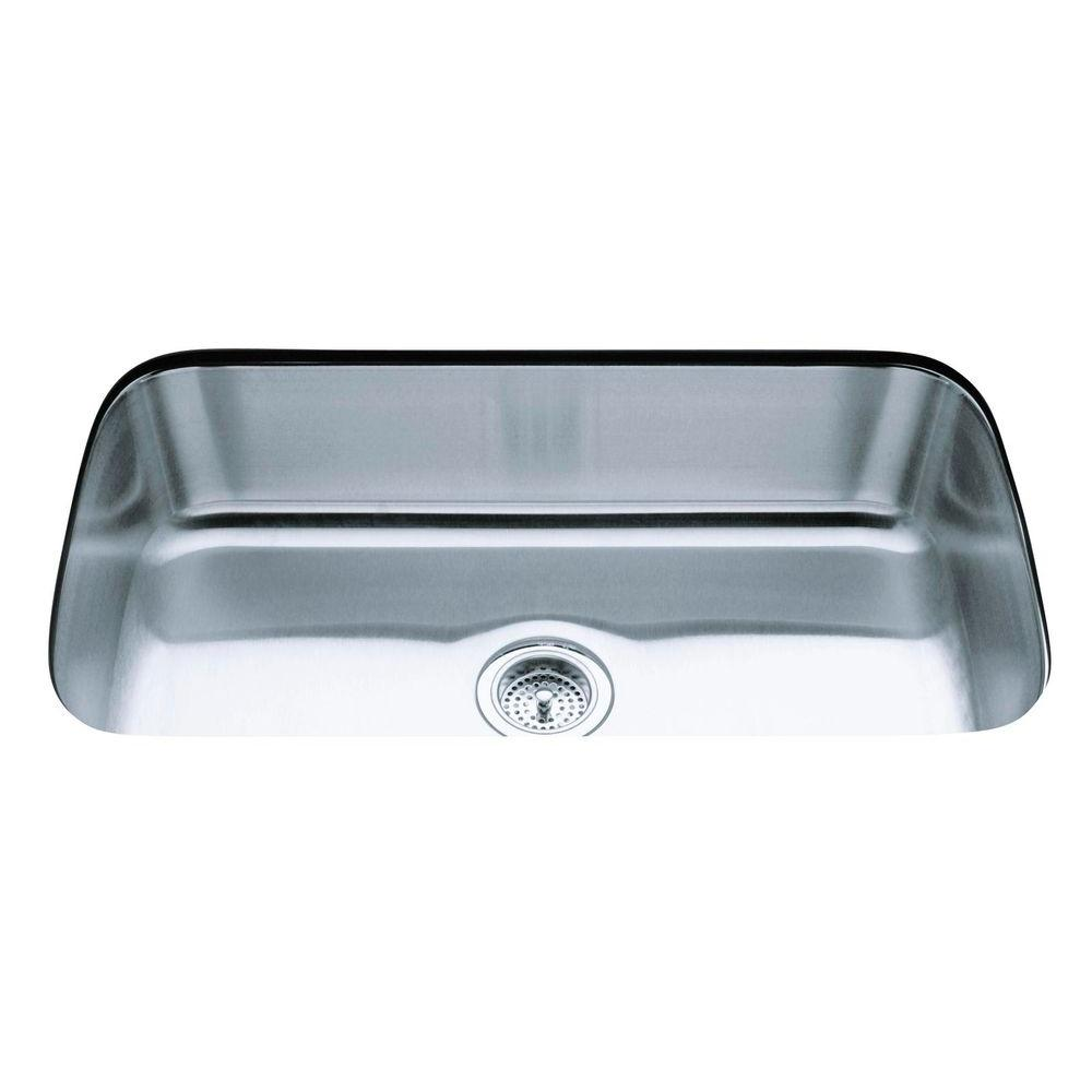 Kohler Undertone Undercounter Undermount Stainless Steel 32 In Single Basin Kitchen Sink K 3183 Na The Home Depot