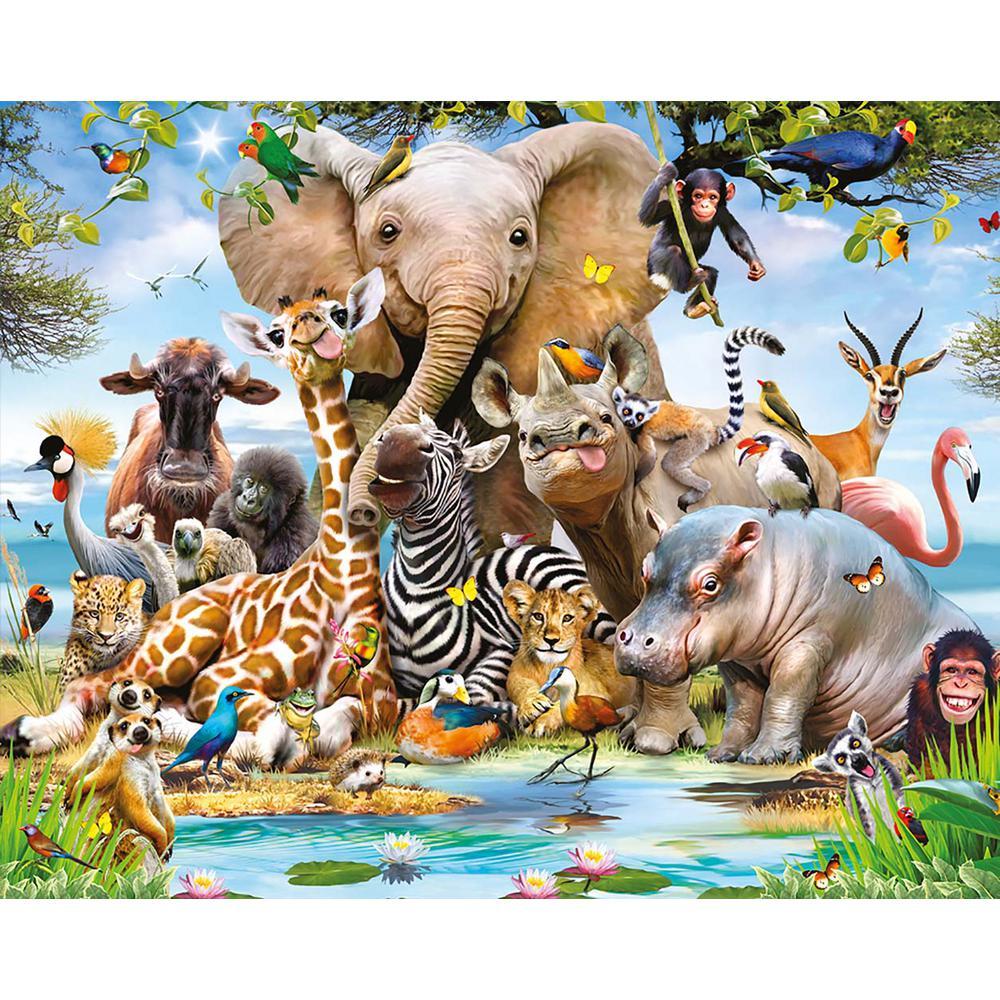 Jungle Safari Animals Wall Mural
