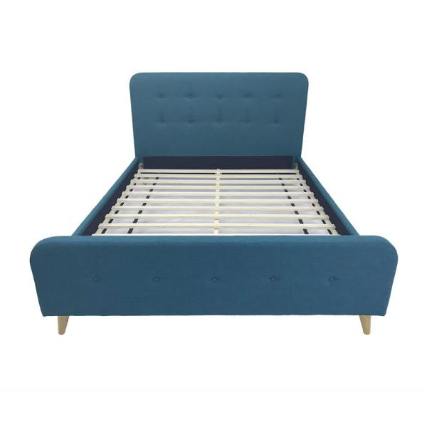 Priya Mid-Century Modern Queen-Size Blue Fabric and Wood Bed Frame