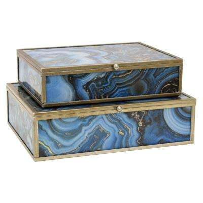 9 in. x 7 in. Glass and Metal Framed Boxes in Blue (Set of 2)