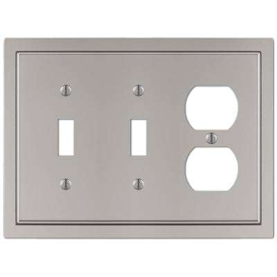 Averly 3 Gang 2-Toggle and 1-Duplex Metal Wall Plate - Satin Nickel