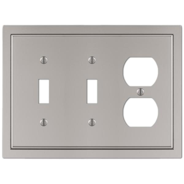 GlideRite Brushed Nickel Beveled Edge Outlet Cover Steel Duplex Wall Plates