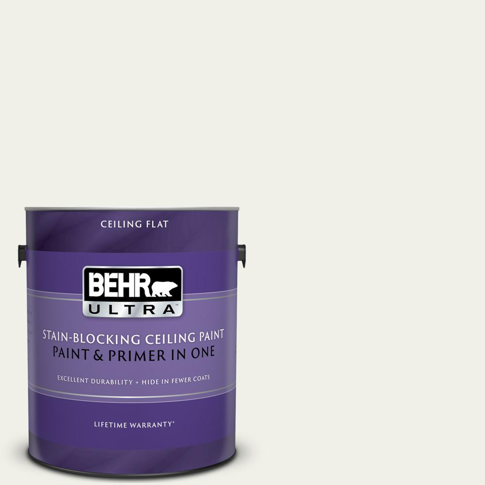 BEHR ULTRA 1 gal. #PPU18-7 Falling Snow Ceiling Flat Interior Paint and Primer in One
