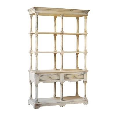 81.5 in. White Wood 4-shelf Accent Bookcase with Open Back