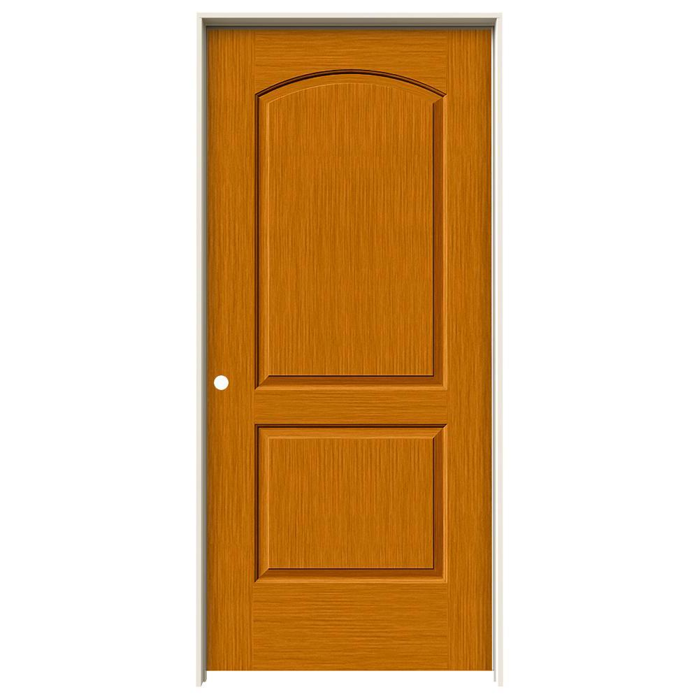 Jeld Wen 36 In X 80 In Continental Saffron Stain Right Hand Solid Core Molded Composite Mdf