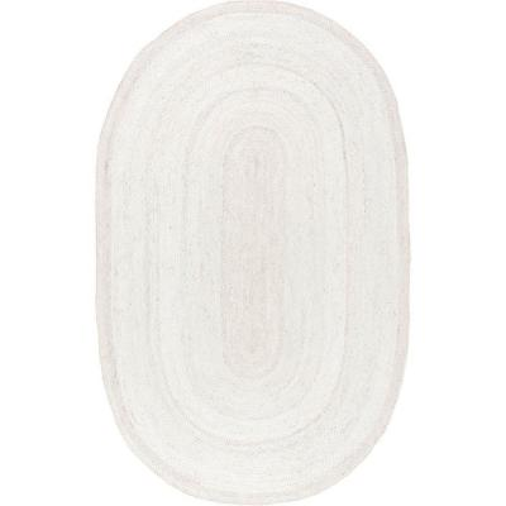 Rigo Chunky Loop Jute Off-White 4 ft. x 6 ft. Oval Rug
