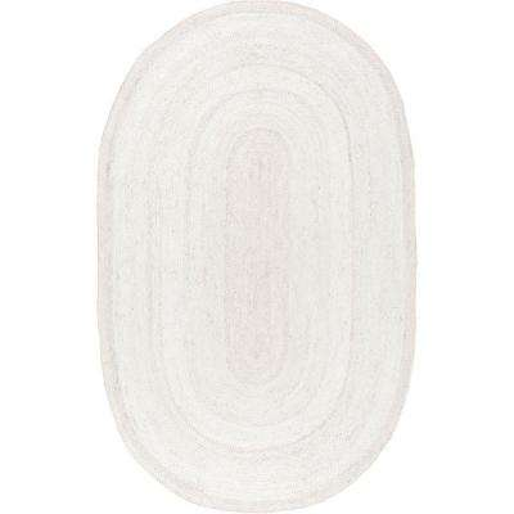Rigo Jute White 5 ft. x 8 ft. Oval Area Rug