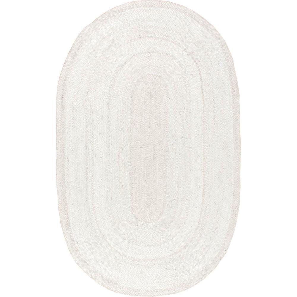 nuLOOM Rigo Jute White 9 ft. x 12 ft. Oval Area Rug