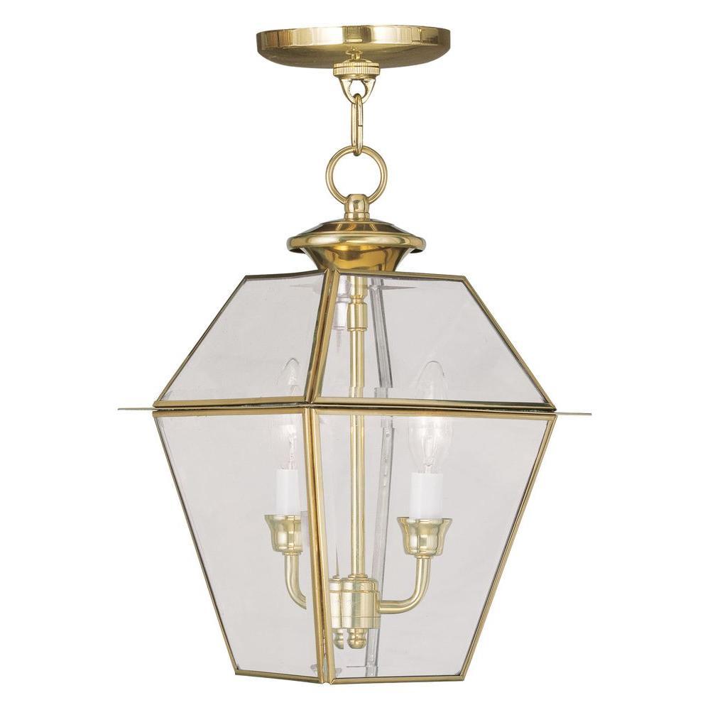 Providence 2-Light Polished Brass Outdoor Incandescent Hanging Lantern