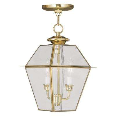 Providence 2-Light Polished Brass Outdoor Incandescent Hanging Lantern