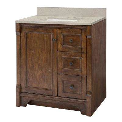 Creedmoor 31 in. W x 22 in. D Vanity in Walnut with Engineered Quartz Vanity Top in Stoneybrook with White Sink