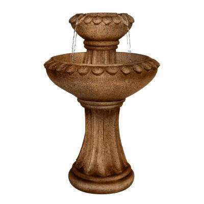 25 in. Tall 2-Tier Pedestal Fountain in Brown