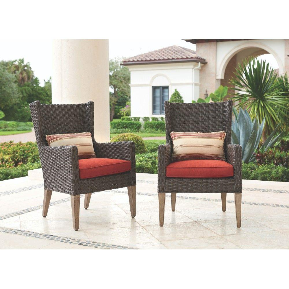 Naples Brown All Weather Wicker Outdoor Arm Dining Chairs With Spice  Cushions (2