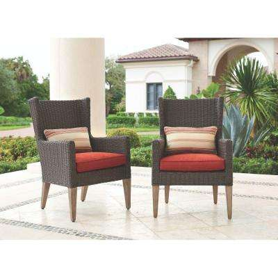 Naples Brown All-Weather Wicker Outdoor Arm Dining Chairs with Spice Cushions (2-Pack)