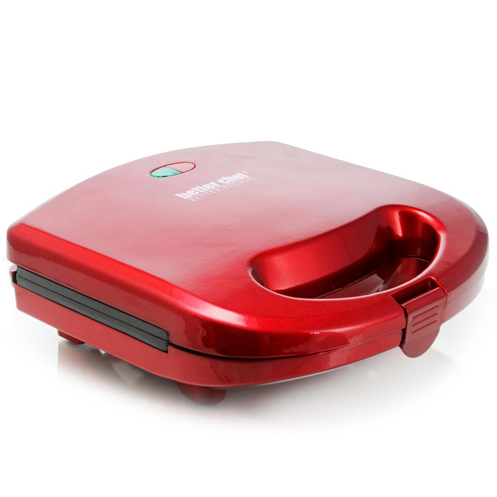 Electric Sandwich Grill in Red A great addition to any home kitchen is the Better Chef Panini Press sandwich maker and grill. The sleek and stylish finish is certain to upgrade your kitchen's existing look. Bring this sandwich maker home today! Color: Red.