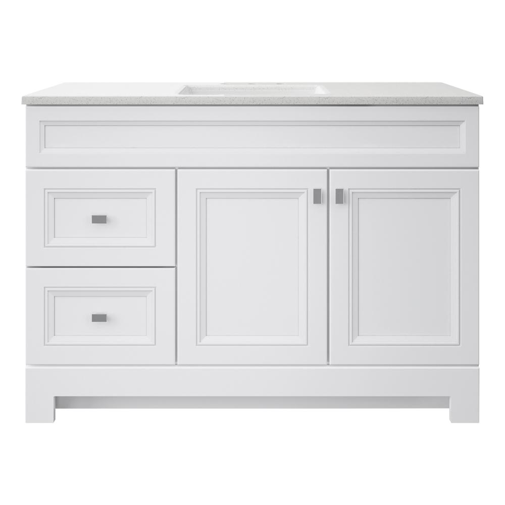 Home Decorators Collection Sedgewood 48 1 2 In W Bath Vanity In White With Solid Surface Technology Vanity Top In Arctic With White Sink