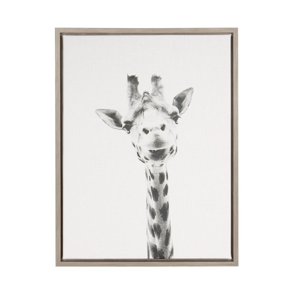 "24 in. x 18 in. ""Giraffe"" by Tai Prints Framed Canvas Wall Art"