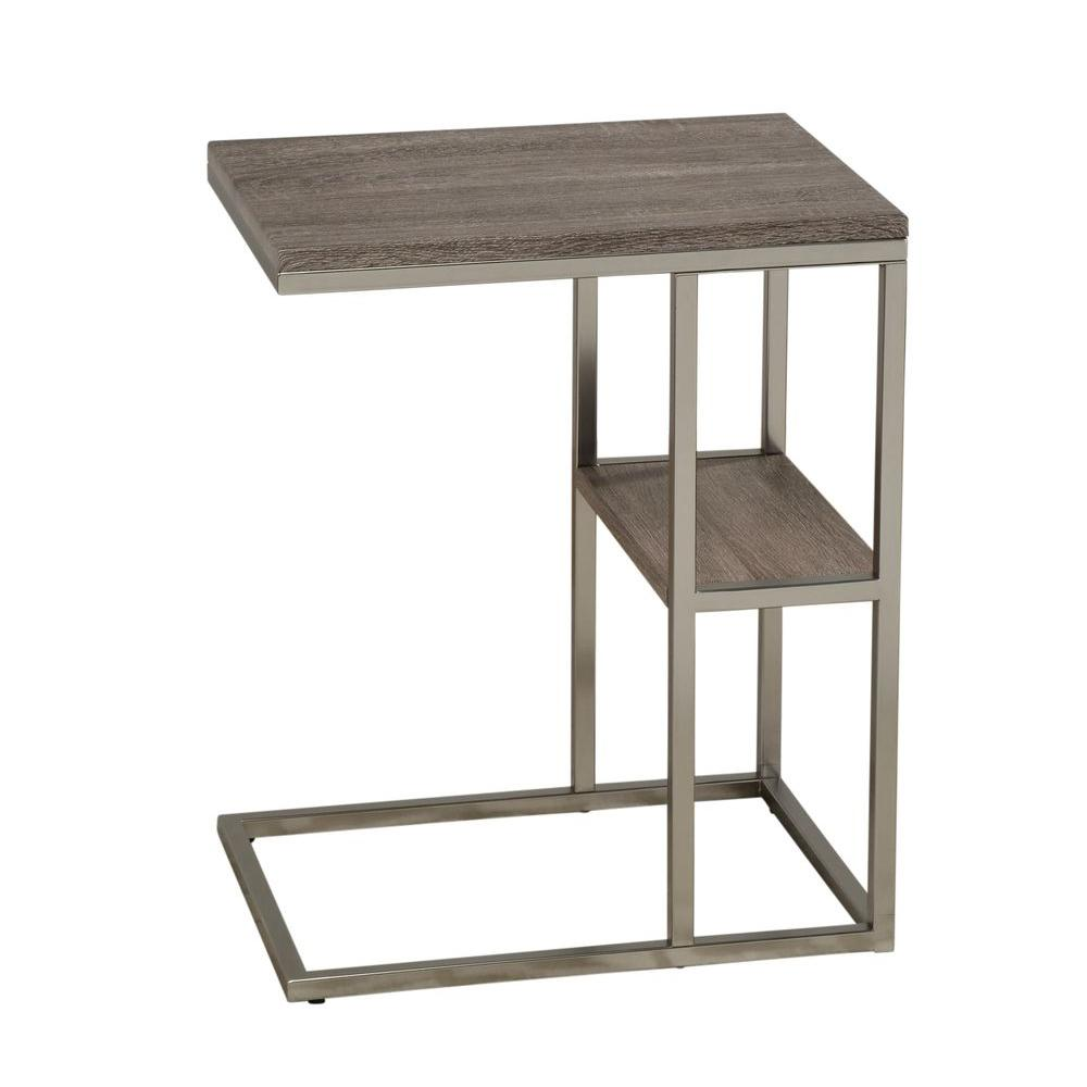 Worldwide Homefurnishings Console Table in Brushed Chrome Base with Reclaimed Look Top
