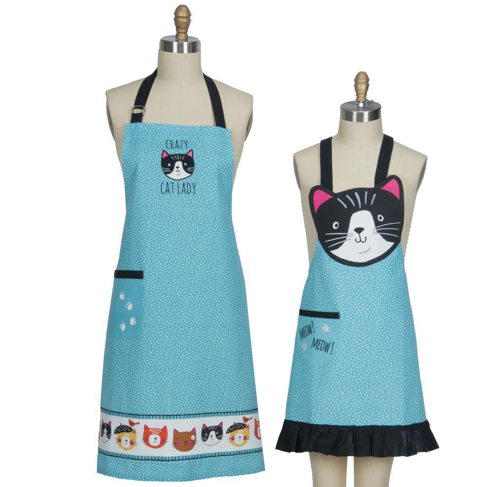 Crazy Cat Blue Cotton Chef and Child Apron Set