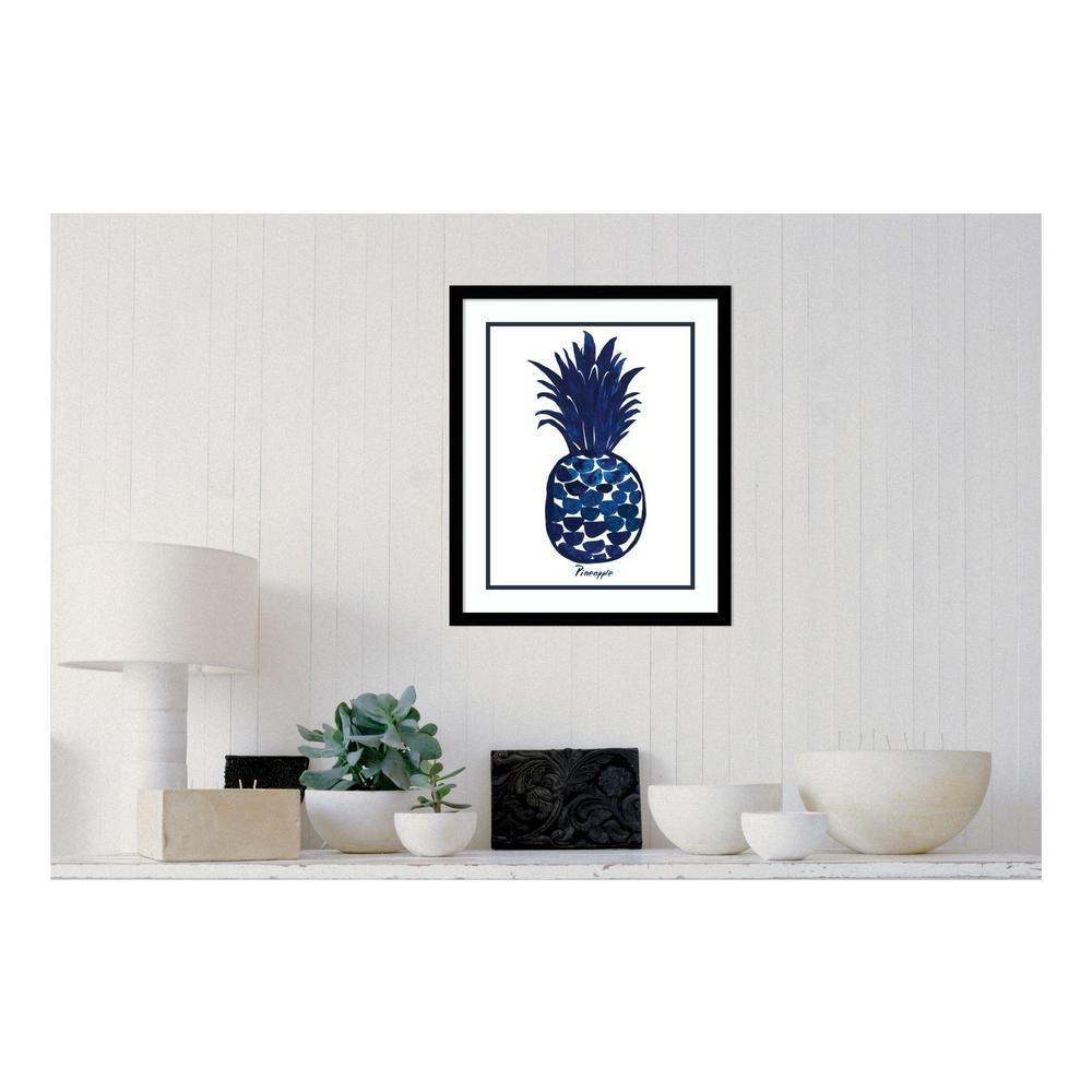 19.38 in. W x 23.38 in. H Indigo Pineapple by Aimee Wilson Printed Framed Wall Art