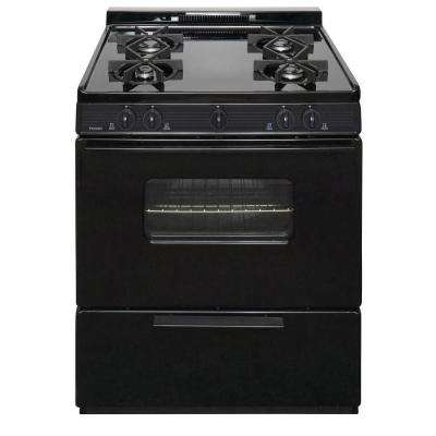 30 in. 3.91 cu. ft. Battery Spark Ignition Gas Range in Black