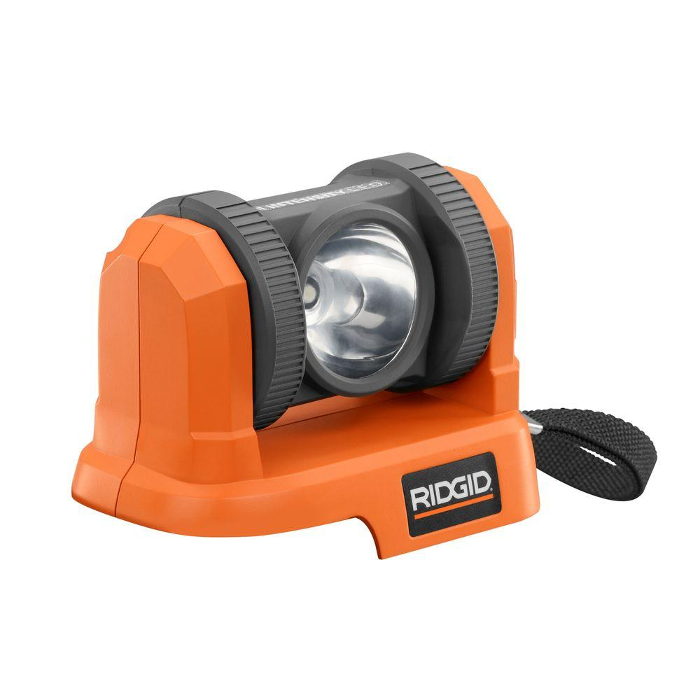 ridgid 18 volt compact light console with pivoting head r86920n the home depot. Black Bedroom Furniture Sets. Home Design Ideas