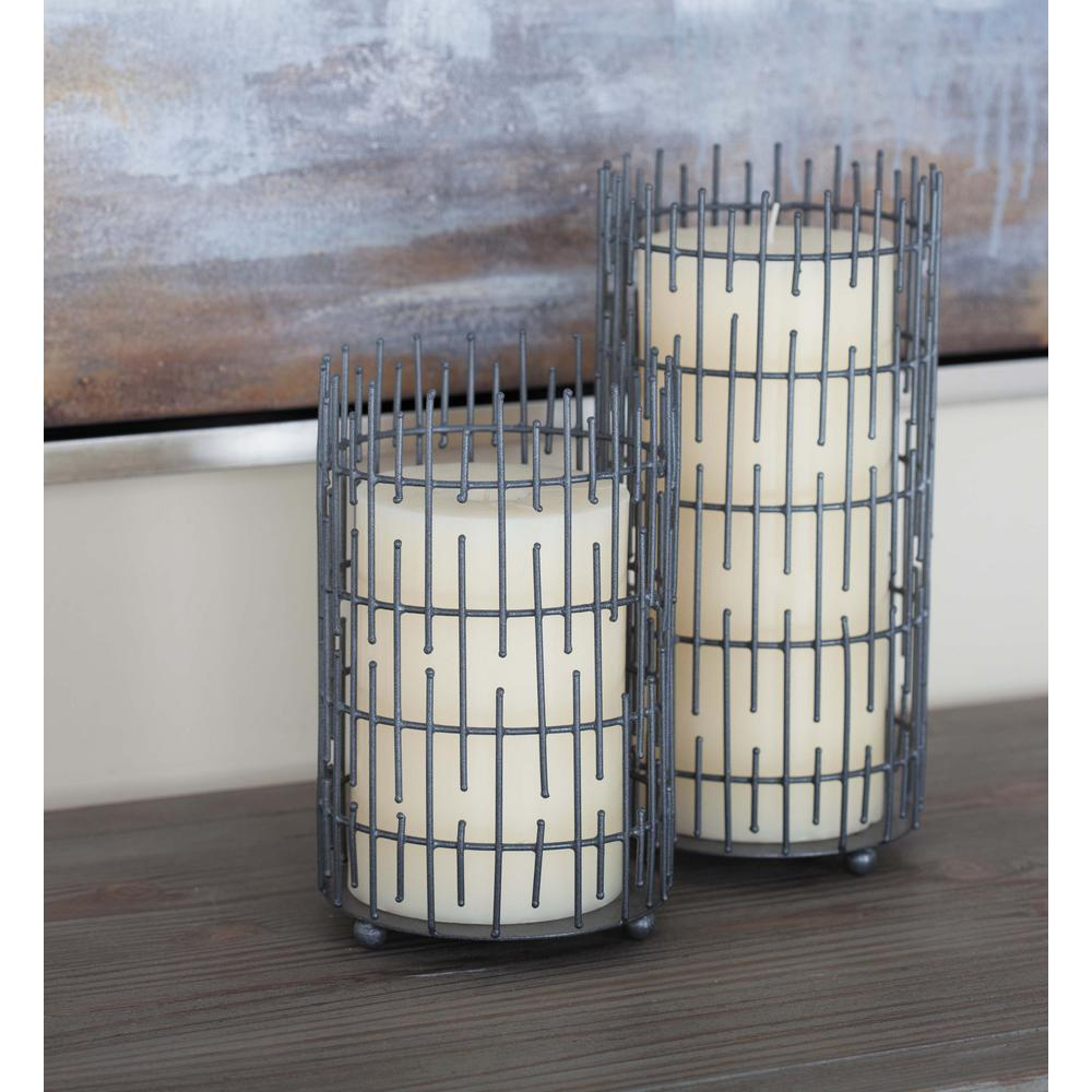 1d611a8953584 Litton Lane Modern Gray Metal Wire Spiny Candle Holders (Set of 3 ...