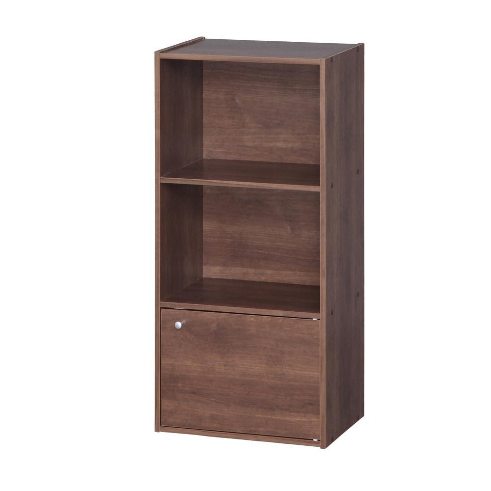 Brown 3 Tier Wood Storage Shelf with Door