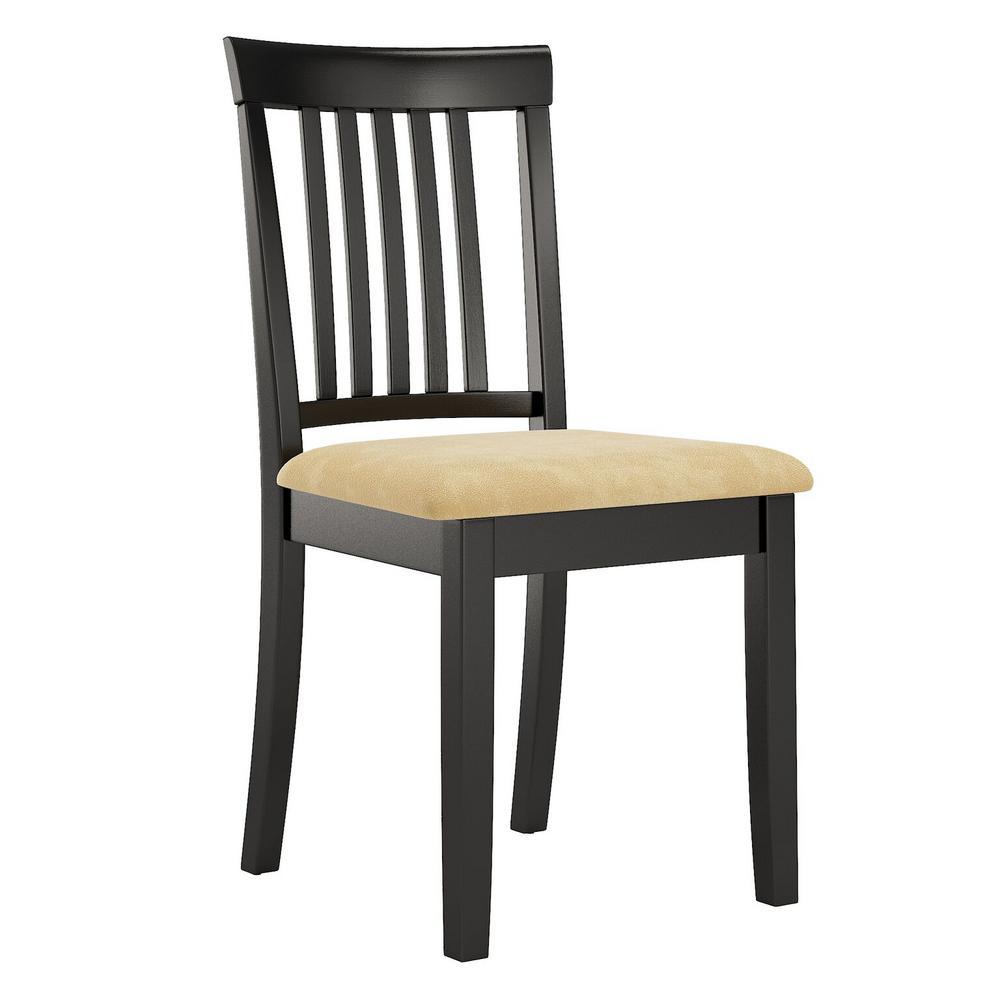 Kira Beige Microfiber Mission Back Chair (Set of 2)
