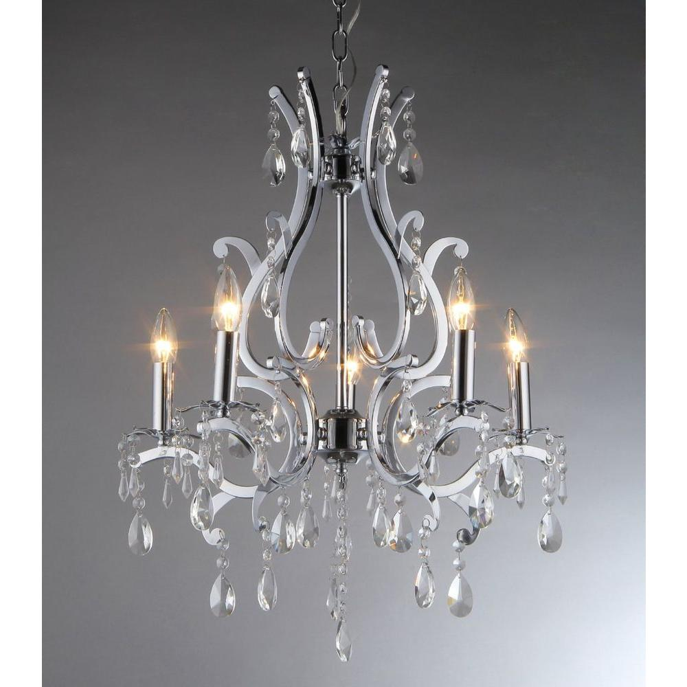 Warehouse of Tiffany Form 5-Light Chrome Chandelier with Shade ...